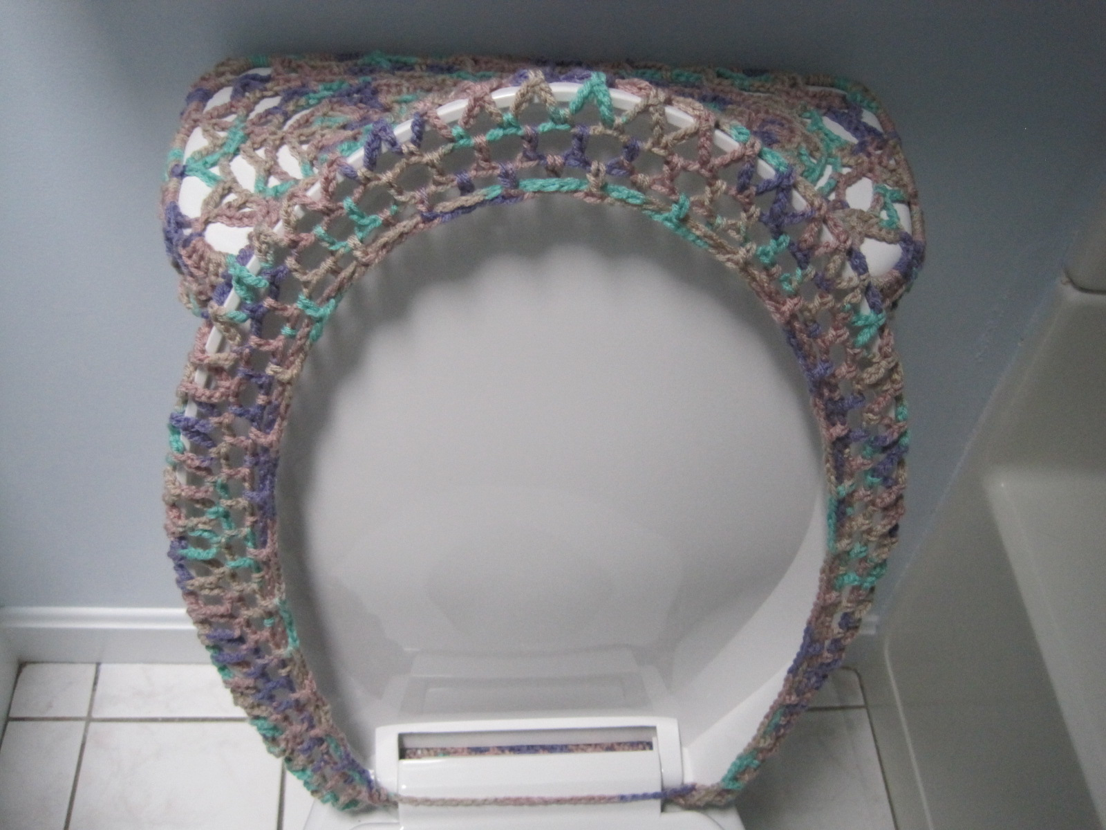 turquoise toilet seat cover. Crochet Pattern  Toilet Seat Cover For Both Standard And Elongated Seats 4VC2012 on Luulla